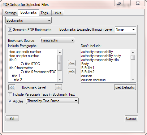 PDF Setup of TOC