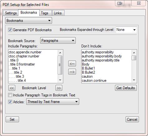 PDF Setup Dialog